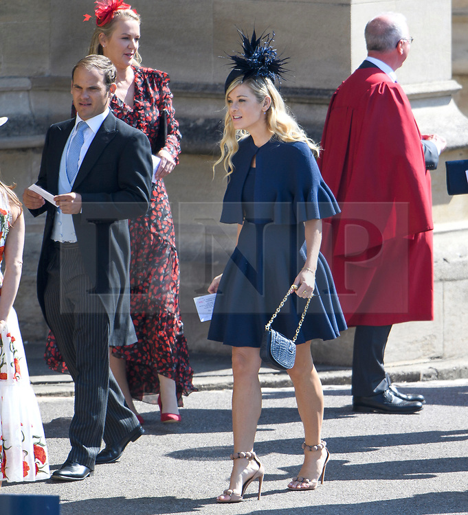 © Licensed to London News Pictures. 19/05/2018. London, UK. CHELSY DAVY (centre), former girlfriend oaf Prince Harry. Guests arrive at The wedding of Prince Harry, The Duke of Sussex to Meghan Markle, The Duchess of Sussex, at St George's Chapel in Windsor. Photo credit: Ben Cawthra/LNP