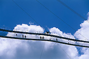 The footbridge provides access to the 900 ton platform suspended above the dish at Arecibo Observatory. The plaform houses the Azimuth Arm, linear antennas and the Gregorian Dome.
