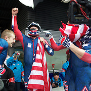 Winter Olympics, Vancouver, 2010.The USA-1 team of Steven Holcomb, Justin Olsen, Steve Mesler and Curtis Tomasezicz win the Gold Medal in the Bobsleigh Four-man at The Whistler Sliding Centre, Whistler, during the Vancouver Winter Olympics. 27th February 2010. Photo Tim Clayton