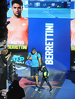Tennis - 2019 Nitto ATP Finals at The O2 - Day Three<br /> <br /> Singles Group Bjorn Borg: Roger Federer (Switzerland) vs. Matteo Berrettini (Italy)<br /> <br /> Matteo Berrettini enters the arena <br /> <br /> COLORSPORT/ANDREW COWIE