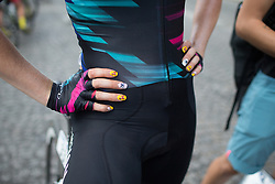 Tiffany Cromwell (AUS) of CANYON//SRAM Racing sports a unique nail varnsih for the La Course, a 89 km road race in Paris on July 24, 2016 in France.