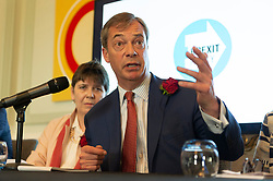 © Licensed to London News Pictures. 23/04/2019. London, UK. Brexit party leader Nigel Farage attends a Brexit party candidate launch for the upcoming European elections. Photo credit: Ray Tang/LNP