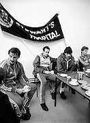 The Ireland soccer team in training at Stewarts Hospital, Palmerstown, Dublin, for the forthcoming match against Malta. Mark Lawrenson looks in thoughtful mode as the players have their tea.<br /> 14 November 1983