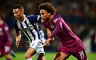 Leroy Sane of Manchester City and Kieran Gibbs of West Bromwich Albion (l) in action.  .Carabao Cup 3rd round match, West Bromwich Albion v Manchester City at the Hawthorns stadium in West Bromwich, Midlands on Wednesday 20th September 2017. pic by Bradley Collyer, Andrew Orchard sports photography.