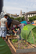 "Garden and campers at protest camp at Placa de Catalunya, Barcelona, Spain. The signs read: ""Animals and music will make you a better person; put a dog and a flute in your life"". The square has been relatively quiet since police attacked and beat protestors on May 27 2011."