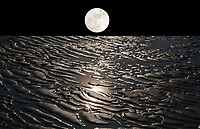 surrealistic landscape with moon on earth with dunes and water with moonlight reflections