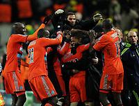 Fotball<br /> Tyskland<br /> 06.12.2011<br /> Foto: Witters/Digitalsport<br /> NORWAY ONLY<br /> <br /> 2:3 Jubel v.l. Alou Diarra, Souleymane DiawaraMathieu Valbuena, Torwart Gennaro Bracigliano, Djimi Traore (Marseille)<br /> Champions League, Gruppenphase, Borussia Dortmund - Olympique Marseille 2:3