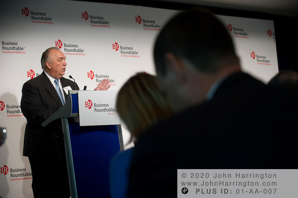 """John Engler, President, Business Roundtable addresses the attendees of the Business Roundtable """"Meeting the Challenges of Economic Growth and Deficit Reduction"""" discussion at the Newseum in Washington, DC on September 6th, 2011."""