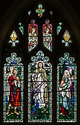 Stained glass window of Saint Peter, Jesus Christ, Mary Magdalene, Great Cheverell church, by Mary Lowndes 1909