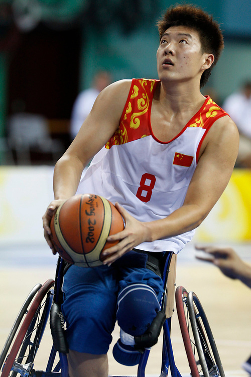 Beijing, China, September 10, 2008: Day four of athletic competition at the Beijing Paralympic Games with game between China and U.S. in men's wheelchair basketball.  The U.S. won, 97-38.  ©Bob Daemmrich
