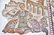 4th century Roman mosaic panel of Eros, a circus chariot rider of the Red Fraction. From Dougga, Tunisia.  The Bardo Museum, Tunis, Tunisia. .<br /> <br /> If you prefer to buy from our ALAMY PHOTO LIBRARY  Collection visit : https://www.alamy.com/portfolio/paul-williams-funkystock/roman-mosaic.html - Type -   Bardo    - into the LOWER SEARCH WITHIN GALLERY box. Refine search by adding background colour, place, museum etc<br /> <br /> Visit our ROMAN MOSAIC PHOTO COLLECTIONS for more photos to download  as wall art prints https://funkystock.photoshelter.com/gallery-collection/Roman-Mosaics-Art-Pictures-Images/C0000LcfNel7FpLI