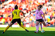 Caroline Weir (#9) of Scotland prepares to play a long pass during the International Friendly match between Scotland Women and Jamaica Women at Hampden Park, Glasgow, United Kingdom on 28 May 2019.