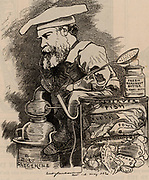 Frederick Settle Barff (1823-1887) English chemist born at Hackney, Greater London.  Inventor of the Barff (Bower-Barff) process for preventing the corrosion of iron and steel by producing an adherent coating of magnetic oxide of iron (Barffing).   Cartoon by Edward Linley Sambourne in the Punch's Fancy Portraits series from 'Punch' (London, 20 May 1882).