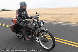 Cris Sommer Simmons riding Effie, her 1915 Harley-Davidson model J in the Motorcycle Cannonball coast to coast vintage run. Stage 14 (303 miles) from Spokane, WA to The Dalles, OR. Saturday September 22, 2018. Photography ©2018 Michael Lichter.
