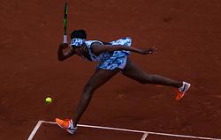 June 2, 2017 - Paris, France - Venus Williams of United States returns the ball to Elise Mertens of Belgium during the third round at Roland Garros Grand Slam Tournament - Day 6 on June 2, 2017 in Paris, France. (Credit Image: © Robert Szaniszlo/NurPhoto via ZUMA Press)