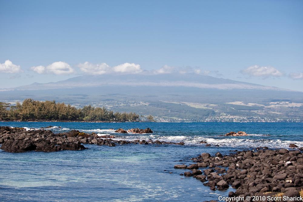 Mauna Kea as seen from Hilo Bay on the Big Island of Hawaii.