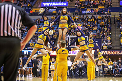 Dec 1, 2019; Morgantown, WV, USA; West Virginia Mountaineers cheerleaders perform during the second half against the Rhode Island Rams at WVU Coliseum. Mandatory Credit: Ben Queen-USA TODAY Sports