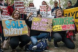 October 4, 2018 - London, London, UK - London, UK. Supporters of striking fast food workers join a rally in Leicester Square as part of strike action over pay. UberEats, JD Wetherspoon, McDonald's and TGI Fridays workers are among those taking part. (Credit Image: © Rob Pinney/London News Pictures via ZUMA Wire)