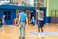FEB President Jorge Garbajosa (L) and Ilimane Diop (R) during the Spain training session before EuroBasket 2017 in Madrid. August 02, 2017. (ALTERPHOTOS/Borja B.Hojas)