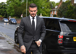 Football star David Beckham arriving at Bromley Magistrates Court in south east London for a hearing after he was spotted using his mobile phone while driving his Bentley in London's West End.