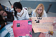 Wendy (18) and Sandra (17)  waiting since 3 days for the concert of Justin Bieber at the Palacio de los deportes in Madrid