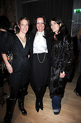 Left to right, TIPHAINE CHAPMAN, TRISH SIMONON and BELLA FREUD at The Rodial Beautiful Awards in aid of the charity Kids Company held in the Billiard Room at The Sanderson, 50 Berners Street, London on 3rd February 2010.