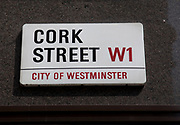 Cork Street road sign, central London. London's most famour street for independent art galleries and art sellers.