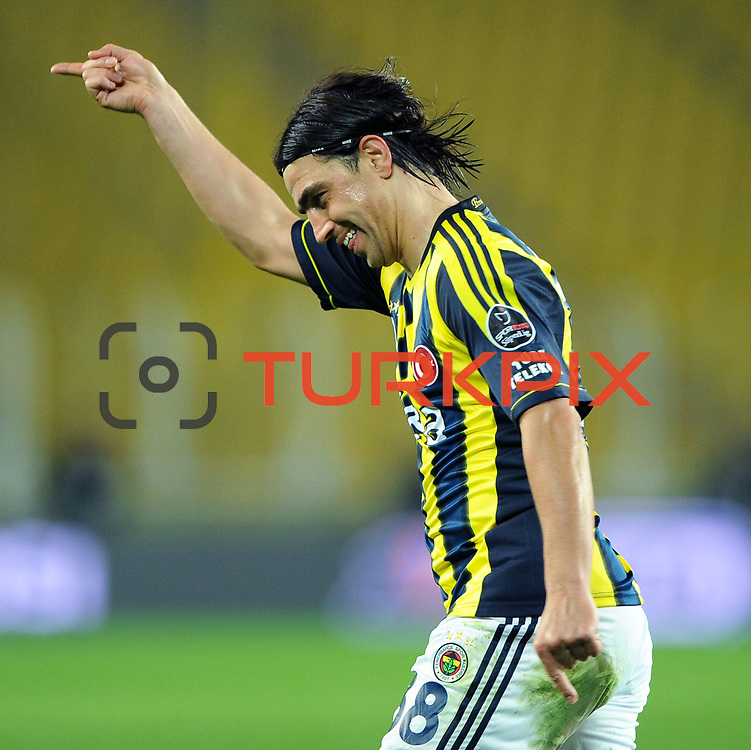 Fenerbahce's Mehmet Topuz celebrate his goal during their Turkish superleague soccer match Fenerbahce between Gaziantepspor at the Sukru Saracaoglu stadium in Istanbul Turkey on Monday09 January 2011. Photo by TURKPIX