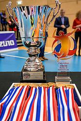 19-02-2017 NED: Bekerfinale Draisma Dynamo - Seesing Personeel Orion, Zwolle<br /> In een uitverkochte Landstede Topsporthal wint Orion met 3-1 de bekerfinale van Dynamo / Wisselbeker en trophy voor de winnaar