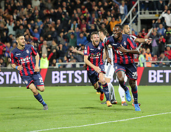 April 18, 2018 - Crotone, Calabria, Italy - Nwankwo Simy of Crotone celebrates the equalizing goal during the serie A match between FC Crotone and Juventus at Stadio Comunale Ezio Scida on April 18, 2018 in Crotone, Italy. (Credit Image: © Gabriele Maricchiolo/NurPhoto via ZUMA Press)