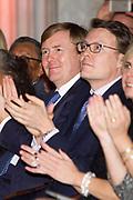 Uitreiking van de Prins Claus Prijs 2014 n het Koninklijk Paleis in Amsterdam.<br /> <br /> Presentation of the Prince Claus Award in 2014 n the Royal Palace in Amsterdam.<br /> <br /> op de foto / On the photo: <br />  Prins Constantijn en Koning Willem-Alexander / Prince Constantijn and King Willem Alexander
