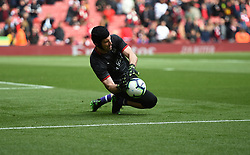 Arsenal goalkeeper Petr Cech pictured during warm up for his last match at the Emirates Stadium