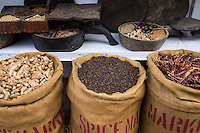 """Cochin's so-called """"Jew Town"""" has retained its role as an important center of the spice trade. Exotic odors of ginger, cloves, cardamon, turmeric and pepper emanate from crumbling spice warehouses."""