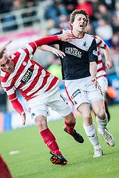 Hamilton's Darian Mackinnon and Falkirk's Blair Alston.<br /> Falkirk 1 v 1 Hamilton, Scottish Premiership play-off semi-final first leg, played 13/5/2014 at the Falkirk Stadium.