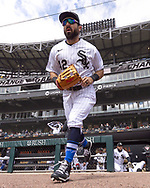 CHICAGO - APRIL 15: Adam Eaton #42 of the Chicago White Sox runs onto the field prior to the game against the Cleveland Indians as Major League Baseball celebrated Jackie Robinson Day on April 15, 2021 at Guaranteed Rate Field in Chicago, Illinois.  (Photo by Ron Vesely) Subject:  Adam Eaton