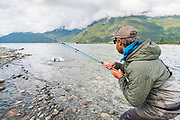 David Page hangs on as a fresh Dean River chinook tries to shake the hook.