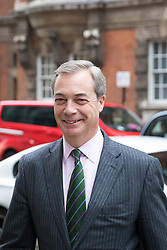 © Licensed to London News Pictures. 12/01/2018. London, UK. Nigel Farage in Westminster. Farage, a key proponent of Brexit, said that he may consider backing a second referendum on EU membership on Channel 5's 'The Wright Stuff'. Photo credit: Rob Pinney/LNP