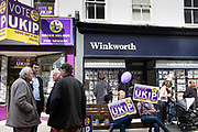 UKIP supporters campaigning in the main square of Newark. The Newark By Election 2014. The election was called as a result of the resignation of Tory MP Patrick Mercer who was suspended from the Commons as a result of allegations hat he had accepted payment for asking parliamentary questions.