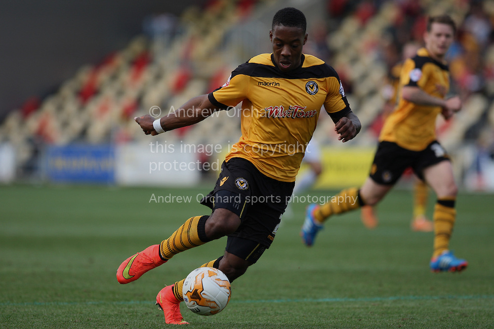 Ryan Jackson of Newport county in action. Skybet football league two match, Newport county v Northampton Town at Rodney Parade in Newport, South Wales on Saturday13th Sept 2014<br /> pic by Mark Hawkins, Andrew Orchard sports photography.