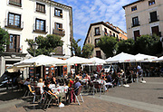 Pavement street cafe in Plaza de San Ildefonso square, Malasana, Madrid city centre, Spain