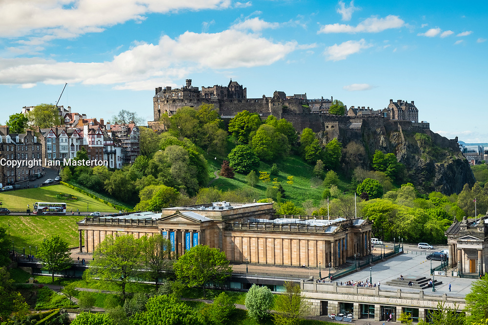 Skyline of Princes Street Gardens, Edinburgh Castle, and the Scottish National Gallery  in Edinburgh, Scotland, UK