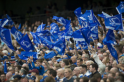 May 27, 2018 - Dublin, Ireland - Leinster fans celebrate during the Guinness PRO14 Final match between Leinster Rugby and Scarlets at Aviva Stadium in Dublin, Ireland on May 26, 2018  (Credit Image: © Andrew Surma/NurPhoto via ZUMA Press)