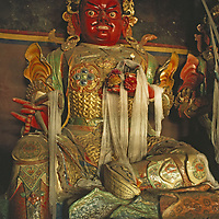 Sculpture of wrathful protective deity.