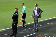 Swansea city manager Paul Clement looks on ®. Premier league match, Swansea city v Huddersfield Town at the Liberty Stadium in Swansea, South Wales on Saturday 14th October 2017.<br /> pic by  Andrew Orchard, Andrew Orchard sports photography.