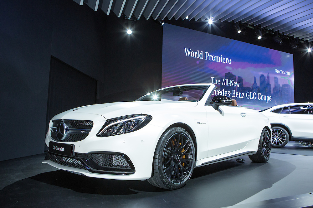 New York, NY, USA-23 March 2016. The Mercedes C63 Cabriolet, a V8 convertible whch made its debut at the New York Auto Show.