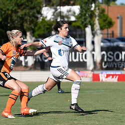 BRISBANE, AUSTRALIA - JANUARY 1: Adriana Taranto of the Victory and Amy Chapman of the Roar compete for the ball during the round 10 Westfield W-League match between the Brisbane Roar and Melbourne Victory at AJ Kelly Park on January 1, 2017 in Brisbane, Australia. (Photo by Patrick Kearney/Brisbane Roar)