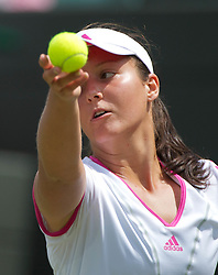 24.06.2011, Wimbledon, London, GBR, Wimbledon Tennis Championships, im Bild Laura Robson (GBR) in action during the Ladies' Singles 2nd Round match on day five of the Wimbledon Lawn Tennis Championships at the All England Lawn Tennis and Croquet Club, EXPA Pictures © 2011, PhotoCredit: EXPA/ Propaganda/ *** ATTENTION *** UK OUT!