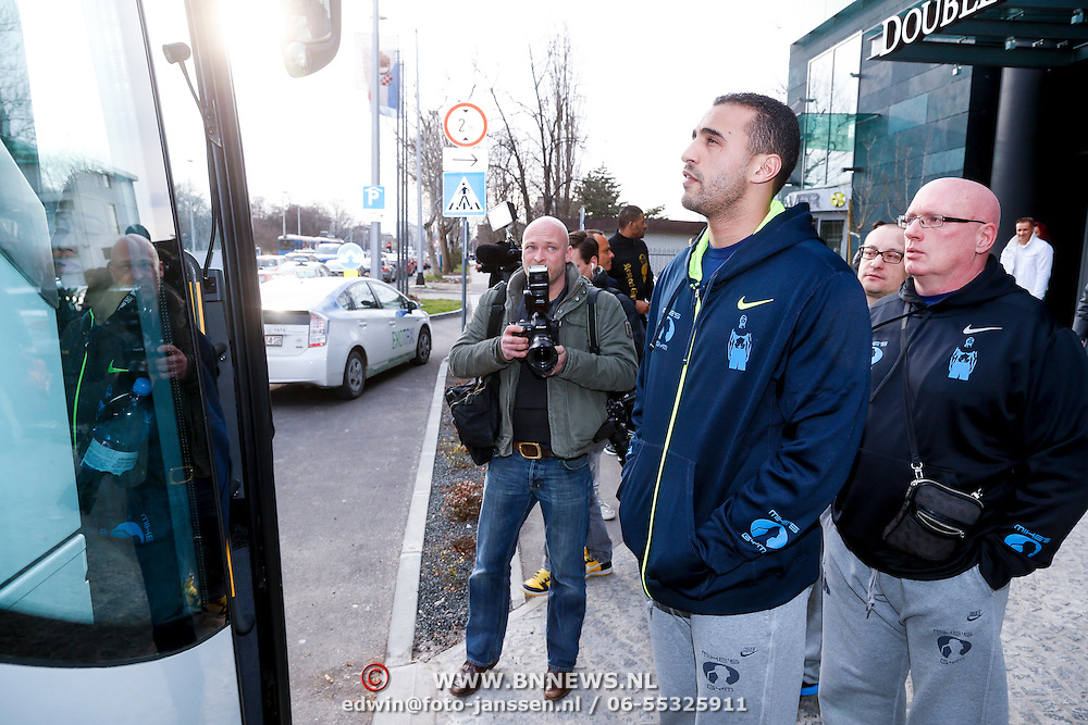 CRO/Zagreb/20130315- K1 WGP Final Zagreb, Badr Hari gaat onderweg naar zijn wedstrijd,