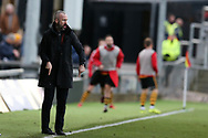Shaun Derry, the Cambridge United manager points as he instructs his players from the touchline.The Emirates FA Cup, 2nd round match, Newport County v Cambridge United at Rodney Parade in Newport, South Wales on Sunday 3rd December 2017.<br /> pic by Andrew Orchard,  Andrew Orchard sports photography.
