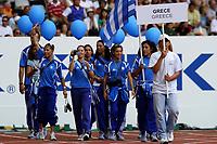 Friidrett<br /> VM 2003 Paris<br /> 23.08.2003<br /> NORWAY ONLY<br /> Foto: Digitalsport<br /> <br /> ATHLETICS - IAAF WORLD CHAMPIONSHIPS 2003 - PARIS 2003 - STADE DE FRANCE - PHOTO : FRANCK FAUGERE<br /> <br /> OPENING CEREMONY - TEAM GREECE / HELLAS